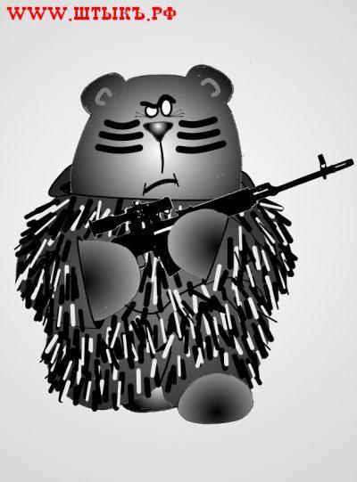 Прикольный рисунок про медведя-снайпера
