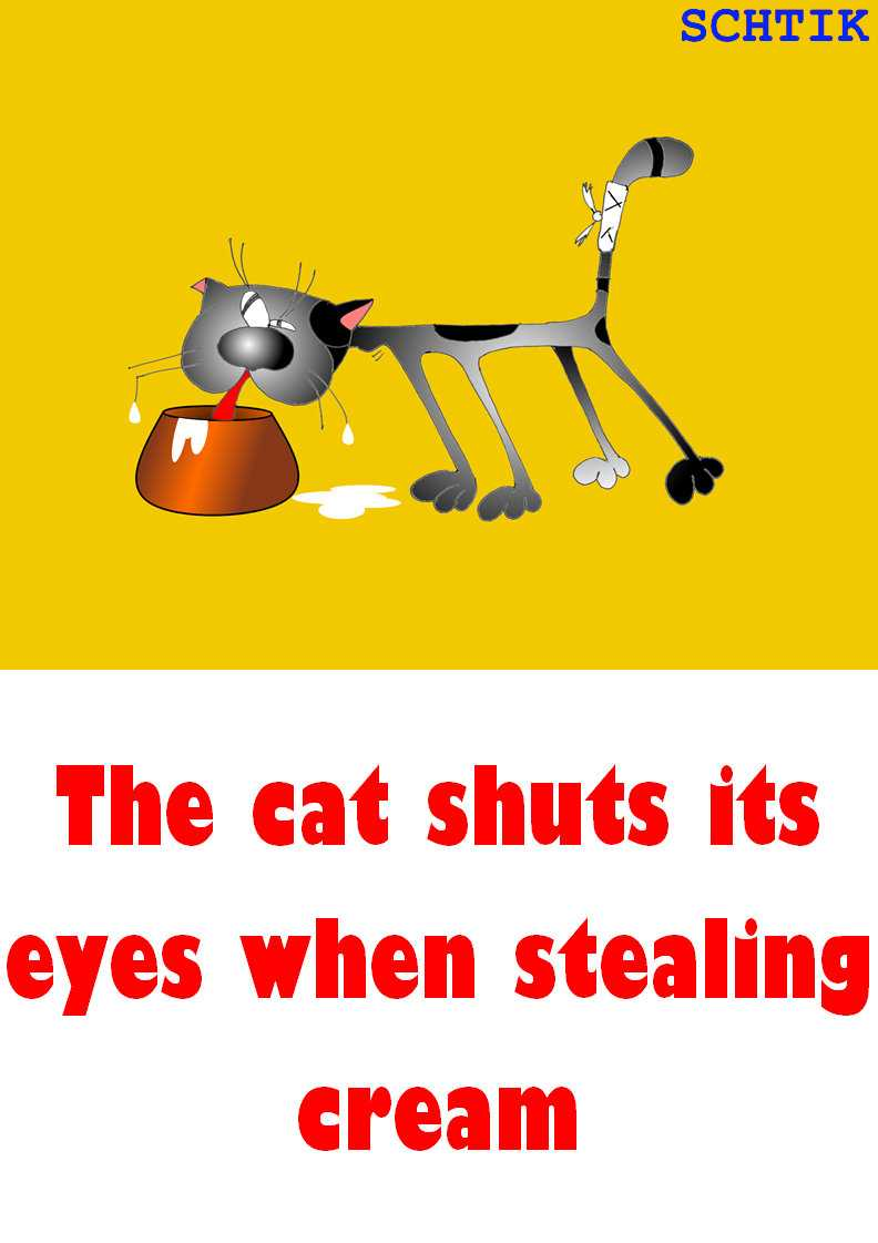 The cat shuts its eyes when stealing cream