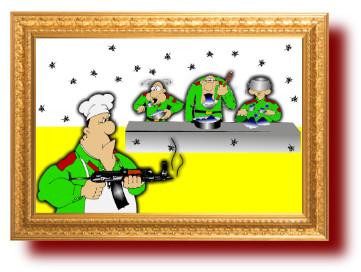 Прикольный анекдот с веселым рисунком о вкусной и здоровой пище