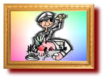 Карикатура про воспитание в армии. Юмор