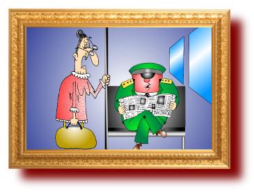 анекдот дня с карикатурой: бабуля и прапорщик-интеллигент
