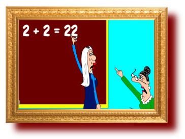 прикольные анекдоты с карикатурами: Блондинка в школе