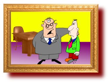 короткий анекдот со смешным рисунком: Начальник и сын