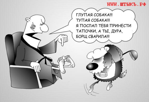 Старые анекдоты, лучший юмор, карикатуры с надписями: Одна собака борщ сварила