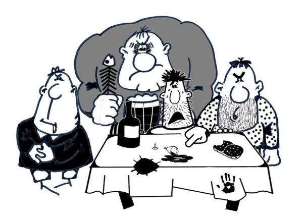 Веселая карикатура к рассказу Зощенко