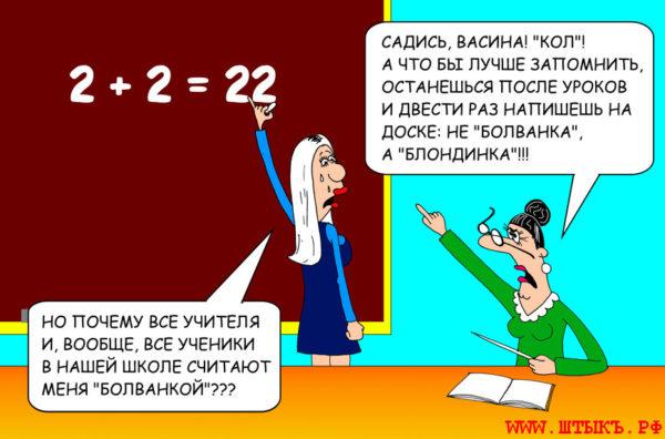 Самые смешные анекдоты с карикатурами про школу