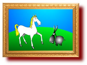 картинки про животных: Осел и лошадь