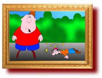 юмор, карикатуры: Толстый байкер