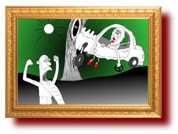 смешные рисунки: Женщина за рулем