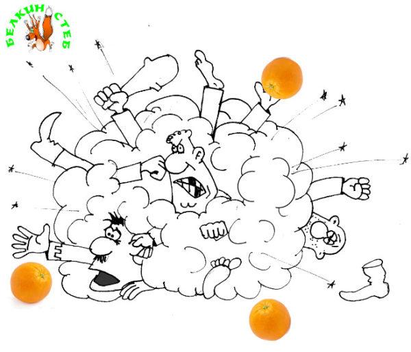 Карикатура- загадка про апельсины