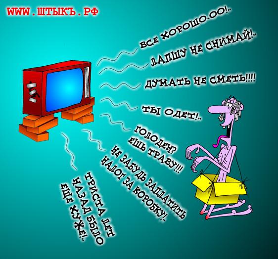 Карикатура про интернет и телевидение