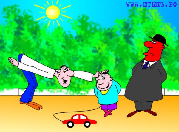 Смешной анекдот с карикатурой: Ребенок - вылитый папа