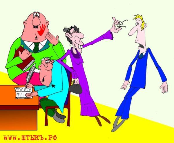 Карикатуры к рассказу Чехова: Старушка веселится