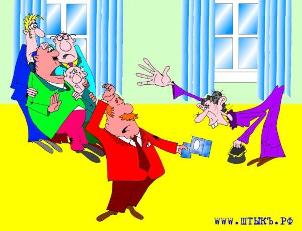 Карикатуры к рассказу Чехова: Старушка и деньги