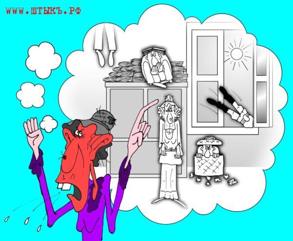 Карикатуры к рассказу Чехова: Старушка жалуется