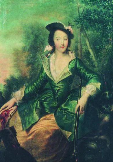Портрет Екатерины Алексеевны в охотничьем костюме.