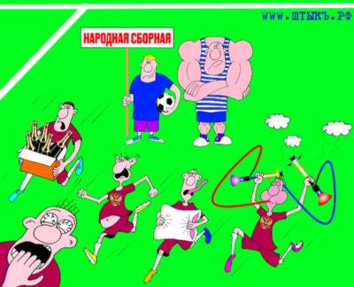 Карикатура на футбольную тренировку