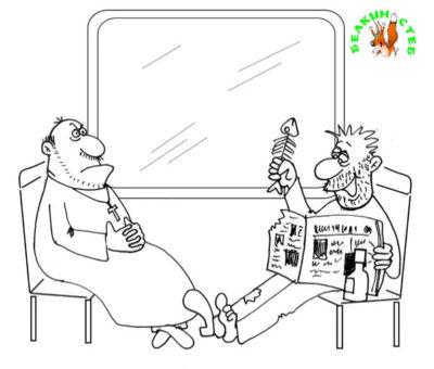 Пьяница и священник. Карикатура