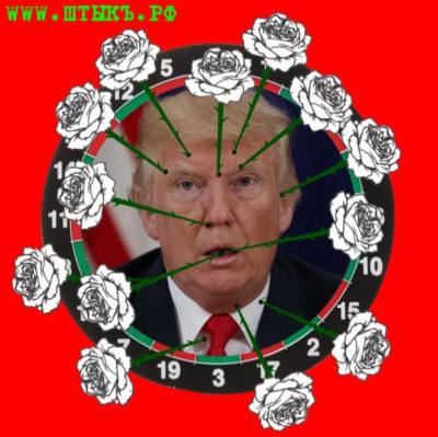 Карикатура.Трамп и розы