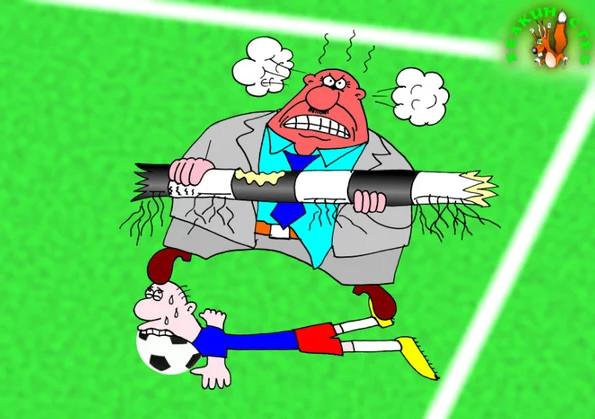 Тренер по футболу. Карикатура
