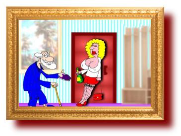 Старый муж и его молодая жена . Карикатура