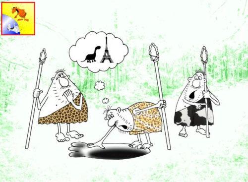 Анекдот про следы. Карикатура