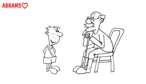 Внук спросил у деда. карикатура