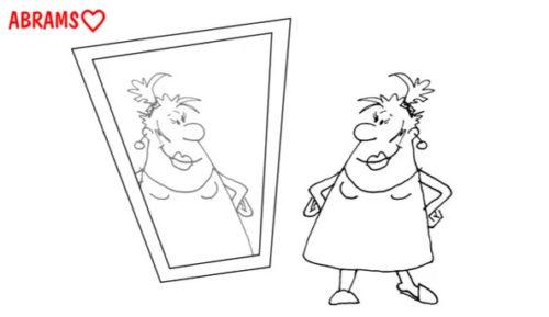 Красота у зеркала. карикатура