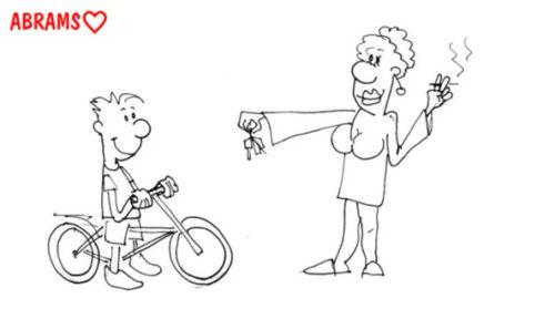 Мальчик на джипе. Карикатура