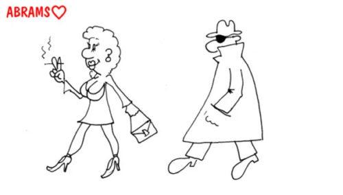 Муж следит за женой. Карикатура