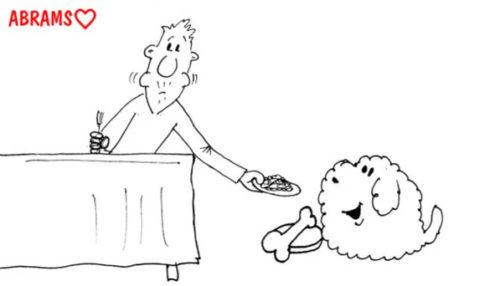 Отдать обед собаке. Карикатура