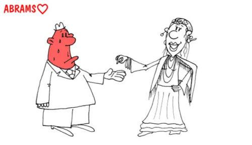 Семьянин у гадалки. Карикатура