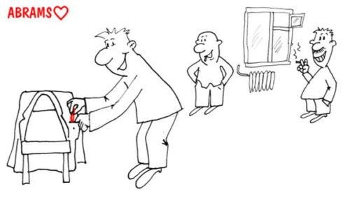 Глупая шутка коллег. Карикатура