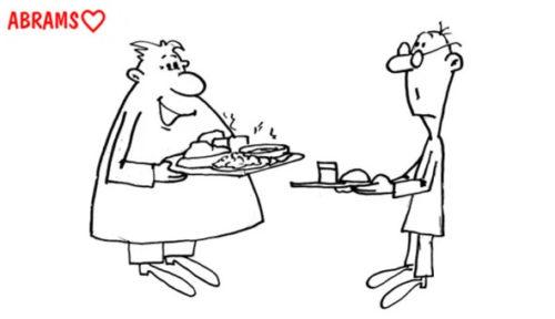 Сытный обед. Карикатура