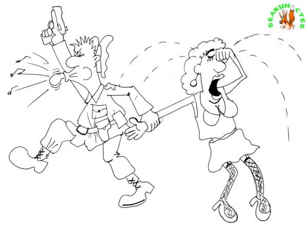 Анекдот про мужа , жену и полицейского. Карикатура
