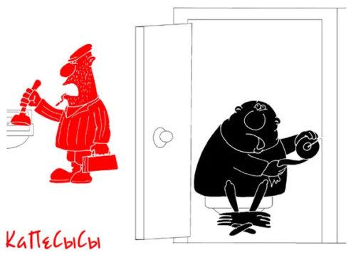Советский анекдот про сантехнический госпереворот. Карикатура