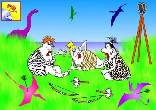 Карикатура. Анекдот: О чем говорят пьяные женщины на охоте