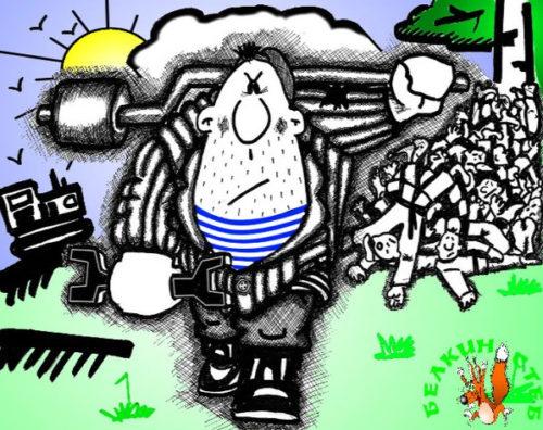 Анекдот про каратэ. Карикатура