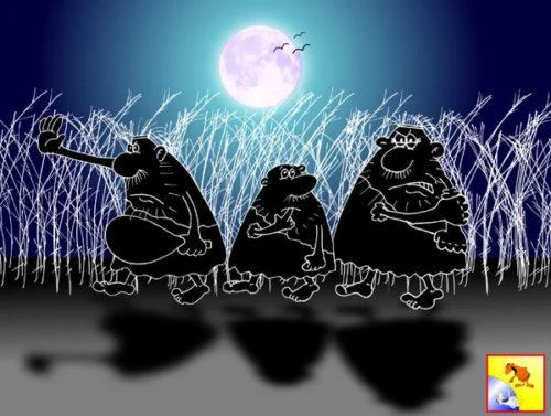 Анекдот про правила ночных разборок. Карикатура