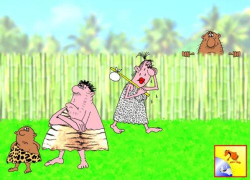 Карикатура: Анекдот: С кем жена живет, к тому пусть и обедать идет!