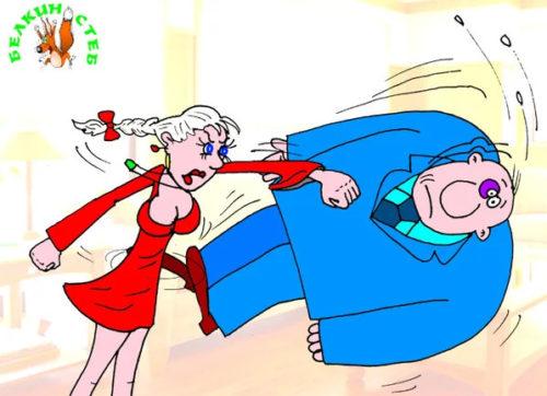 "Карикатура. Анекдот: ""Замолчи, женщина!"""