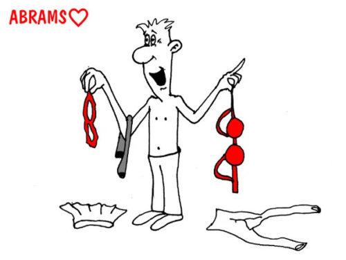 Карикатура. Дамского белья сниматель
