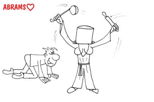 Карикатура: Кастрюля и жена