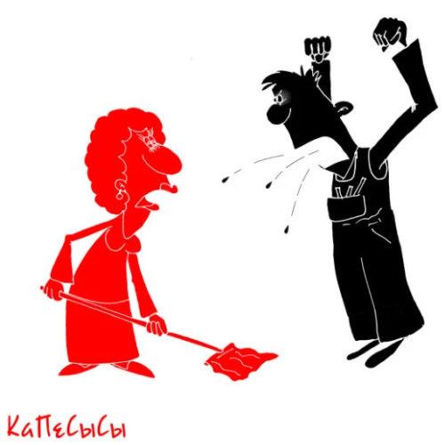 Карикатура про очковтирателя и советский завод