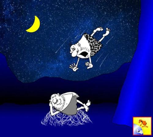 Карикатура. Анекдот про звездопад из дикарей