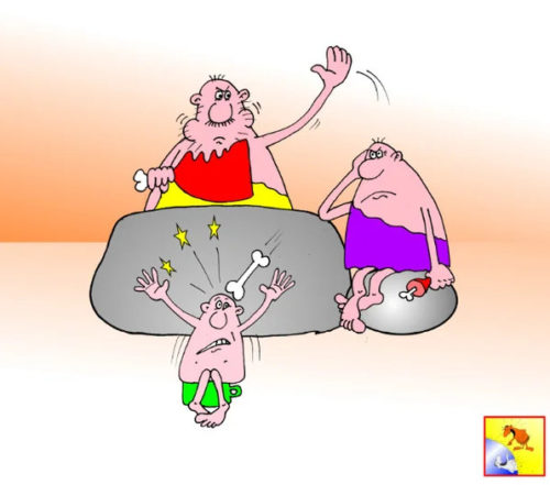 Карикатура- Анекдот про дикие обеды и дикие нравы