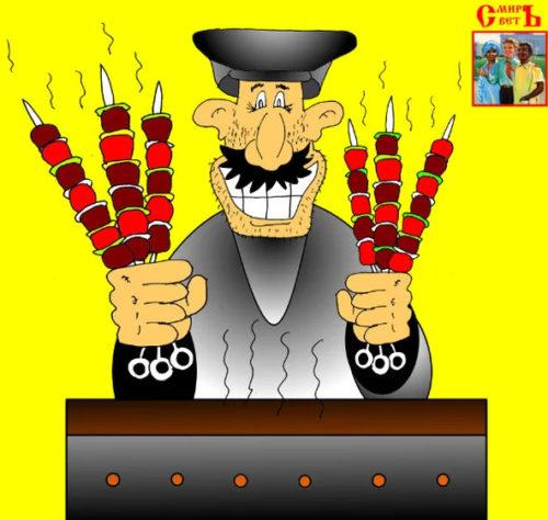 Советский анекдот про грузина и шашлик из свинина! Карикатура