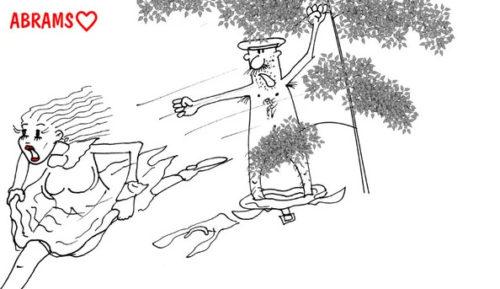 Карикатура на институтку из благородных девиц