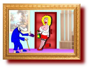 Карикатура. Молодая жена