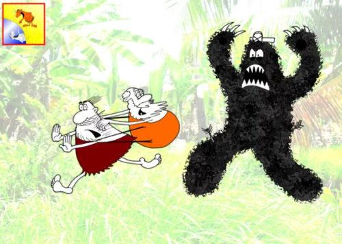 Карикатура -анекдот про старого охотника на чудище лесное